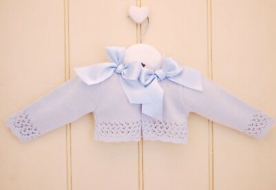 Baby Girls Spanish Style Sky Blue Knitted Double Bow Bolero Cardigan *Small Fit*
