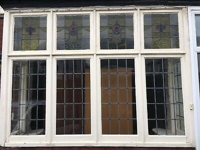 Vintage 1920's Stained Glass Windows Leaded Glass x6 Salvaged Original top panel