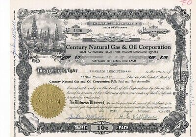 Century Natural Gas & Oil Corporation 1952
