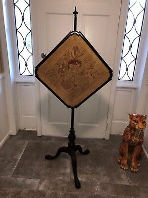 Antique ORIGINAL QUEEN ANNE Carved Mahogany Fire Place Pole Screen