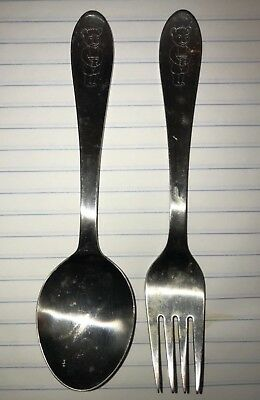 Adorable 2 pc Lundtofte Stainless Childs Fork Spoon Set Bear MCM Denmark