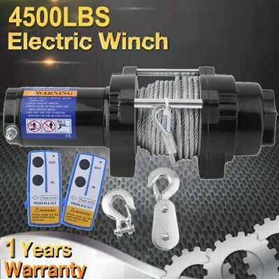 Wireless 4500LBS/2041kg 12V Electric Winch Boat ATV 4WD Steel Cable 2 Remote B
