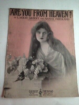 1917 Antique Sheet Music Are You From Heaven? Mildred Harris Large Format Size