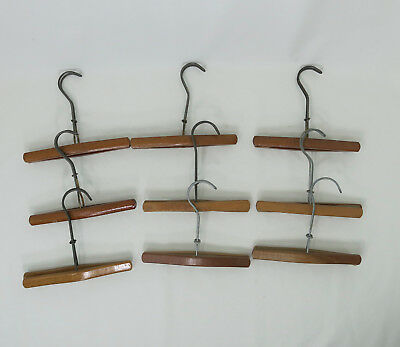 Lot of 9 Vintage Wood Pants Skirt Clamp Hangers Brown  Crafts