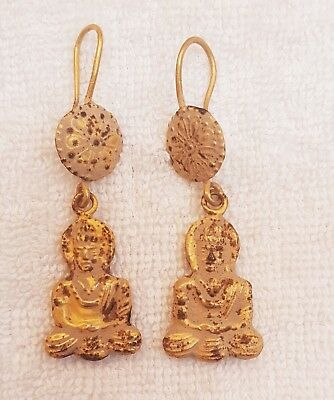 Very Old Ancient Unique Gold On Silver Buddha Wonderful Earings   # T 5t