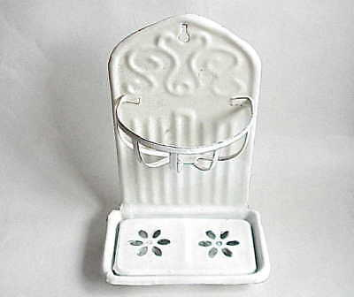 Antique Bathroom Soap & Sponge Holder. Metal w Porcelain Plating