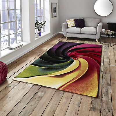 Modern Heatset Small Extra Large Designer Multi Coloured Sunrise Rug By Think