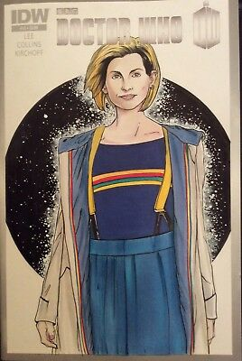 Jodie Whittaker Dr Who Original Art On A Blank Variant Comic
