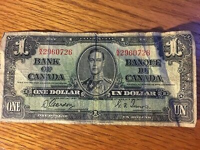 1937 Canadian one-dollar note––circulated