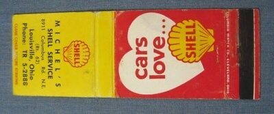 Michels Shell Oil Service Station Frontstrike Matchbook Cover 1940 Lousville OH