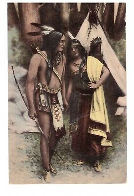 1910? postcard Hiawatha & Minihaha? Hiawatha Cafe Hotel Kingston Indianapolis