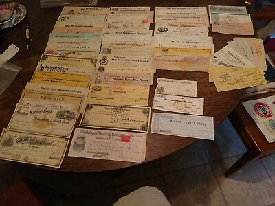 1849-1960 Old U.s. Bank Check And Receipt Collection 76 Different Nice Lot