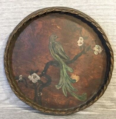 """Antique Hand Painted Wood And Wicker 14"""" Round Serving Tray"""