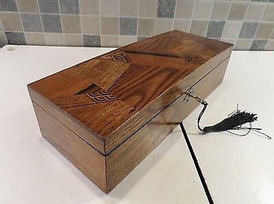 Antique Meiji Period Japanese Lacquer Glove Box With Superb Marquetry Veneer