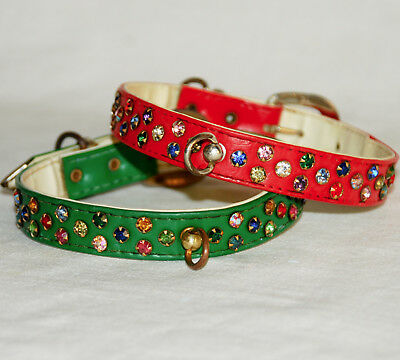 TWO VINTAGE 50s 60s RHINESTONE DOG COLLARS Red / Green Multicolor Stones Fancy S
