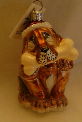 New Slavic Treasures Small Dog With Bone In Mouth Blown Glass Made In Poland