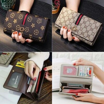 new women purse clutch leather wallet long card holder mobile zippper handbag
