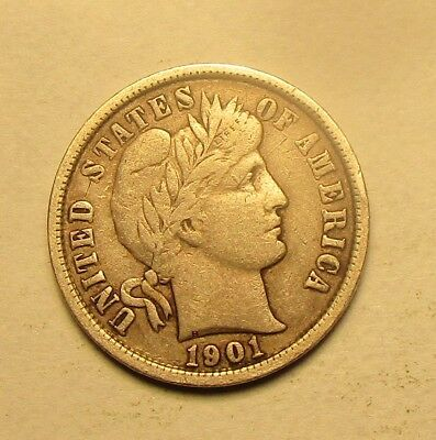 1901-P Barber Dime,full Liberty,very Nice Coin,vf+/ef!!!(M)