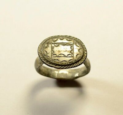 Huge Massive Roman Bronze Ring With Decorated Bezel - Wearable Artifact