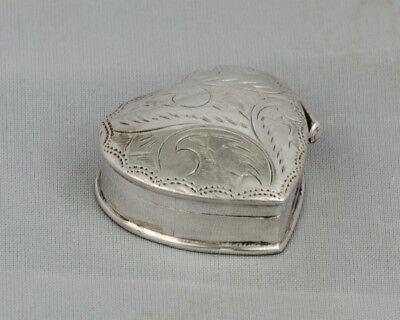 Vintage Sterling Silver Mini Heart Etched Design Small Trinket Small Pill Box