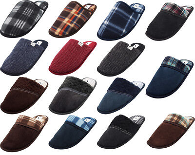 Norty Mens Slip-On Indoor Outdoor Scuff Slippers - Faux Suede/Fleece/Ribbed Knit