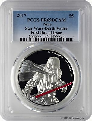 2017 $5 Niue Star Wars Darth Vader 2oz .999 Silver UHR Coin PCGS PR69DCAM FD