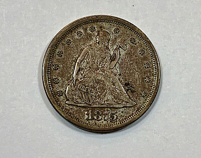 1875-S twenty cent piece 20c has good detail silver coin seated liberty