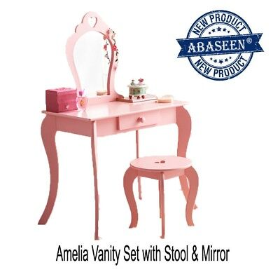 Children Baby Amelia Vanity Set/ Dressing Table With Mirror & Stool