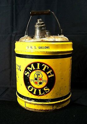 Vintage 1950's Smith Motor Oil Old Tin Metal Can Nice Very RARE 5 Gallon Can