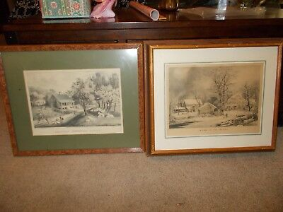 Currier & Ives Lithographs American Homestead Spring / Winter In the Country