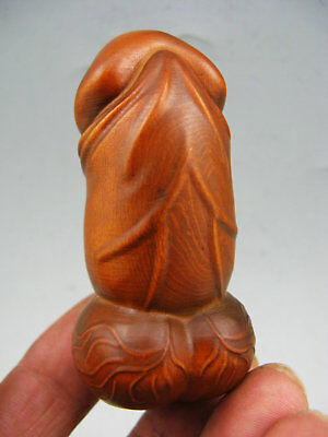 Japanese Old Collectible Handwork Boxwood Antique Male Genital Organ Statue