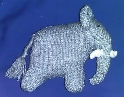 Hand Knitted Toy Elephant - Christmas Gift, Stocking Filler, Etc.