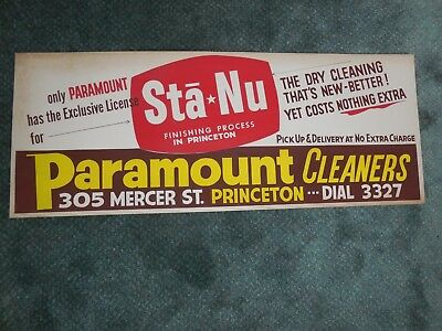 Paramount Cleaners of Princeton WV-Vintage Cardboard Adv Sign -1950's Dial 3327