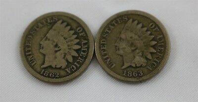 Two Copper-Nickel Indian Head Pennies Cents 1862 1863