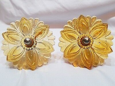 2 Vintage Antique Amber curtain tie backs.