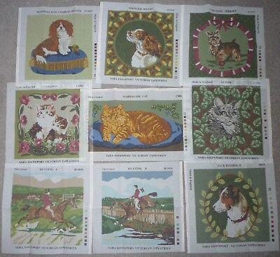 9 NEW SARA DAVENPORT  TAPESTRY NEEDLEPOINT CANVASES 4x DOGS/ 2x HORSES/ 3x CATS