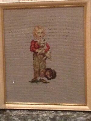 Vintage Embroidered Framed Picture: Young Boy In Period Costume & White Dog