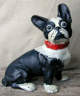 Antique Authentic Hubley Cast Iron French Bulldog Doorstop #304