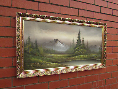 "LARGE Original signed Oil Painting on canvas on board Gold gilt frame 39"" x 21"""