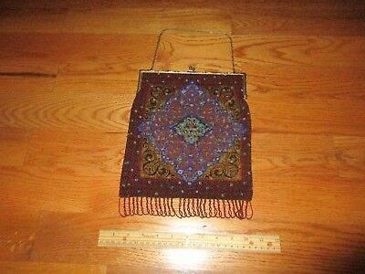 Antique French Woman's Micro Beaded Large Victorian Purse Hand Bag c. 1900