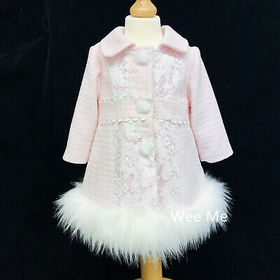 Stunning Wee Me Baby Girl Winter Coat Fur Bottom Trim Cozy and Warm