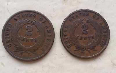 1864 & 1865 Two Cent Pieces .. Free Shipping .. Lot#105