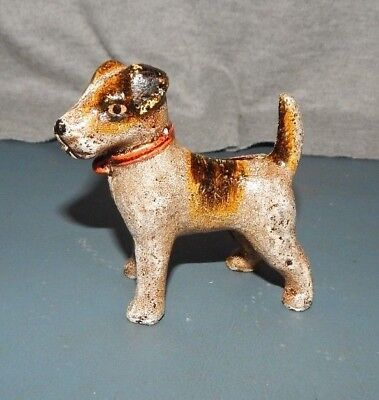 TERRIER DOG CAST IRON PAPERWEIGHT FIGURINE Hand Painted Fox Scottish Boston