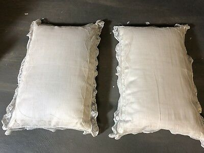 Pair vintage dainty boudoir baby doll pillows batiste embroidery lace trim 9x12