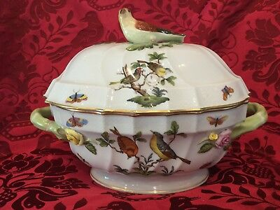 OLD MARK Herend Rothschild Bird Finial Oval Soup Tureen RO 1014 Jewels Pattern