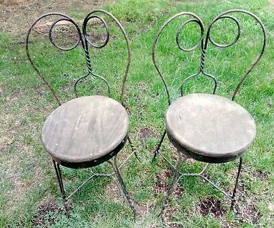 Vintage Wrought Iron Twisted Metal Ice Cream Parlor Chairs from Sutter Creek CA.