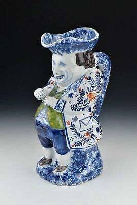 Signed 18th Century Delft Pottery Toby Jug