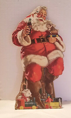Vintage 1950's Coca Cola Santa Claus Litho Cardboard Advertisement Holiday