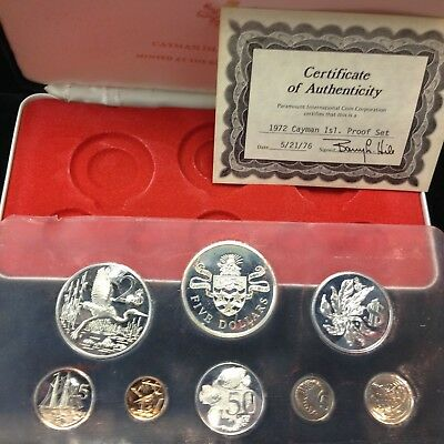 Cayman Islands 1972 Gem Proof 8 Coin Set with SILVER w/Box and COA
