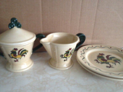 "Vintage POPPYTRAIL by METLOX ""Provincial"" Rooster CREAMER SUGAR BOWL 2 x PLATES"